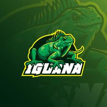 Iguana Mascot Logo Design Vect...