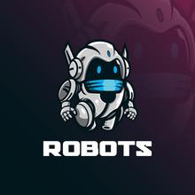 Robot Mascot Logo Design Vector With Modern Illustration Concept Style For Badge, Emblem And Tshirt Printing. Funny Robot Illustration.