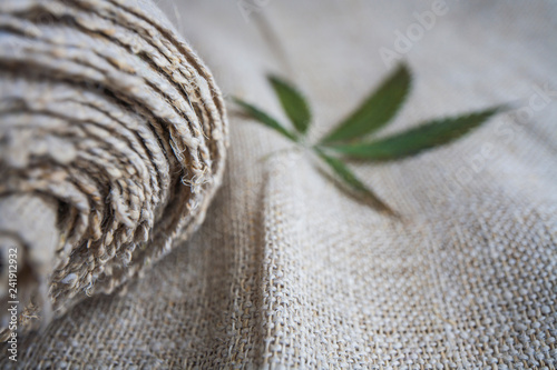 Poster Tissu Fabric made from hemp . cannabis product