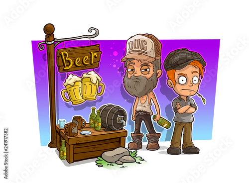 Fotografie, Obraz  Cartoon alcoholic and bad guys with beer shop