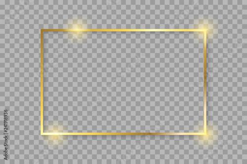 Fotografie, Obraz  Golden luxury shiny glowing vintage frame with shadows