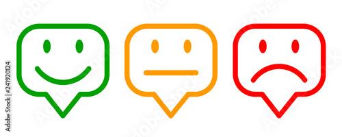Photographie  Three colored emoticons, cartoon emoticons - vector
