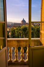 Rome Skyline At Sunset Seen From A Palace In Italy