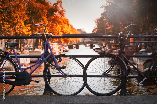 Photo  Two bicycles in Amsterdam, Netherlands