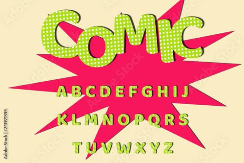 Retro comic font for cartoon design, green colored alphabet