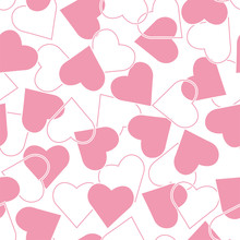 The Seamless Pattern With Pink Hearts On A White Background. Vector.
