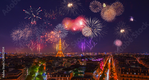 Poster Tour Eiffel December 31, 2018. Paris, France. Gorgeous fireworks over Paris near Eiffel Tower celebrating New Years Eve.