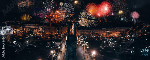 December 31, 2018. Riga, Latvia. Beautiful fireworks over Riga old town. Celebrating New Years Eve in Latvia. #241923972