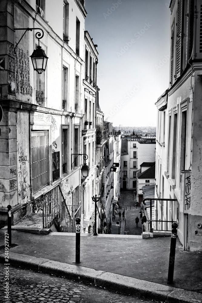 Fototapeta Narrow street in Montmartre, Paris, France