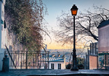 Fototapeta  - Street lamp and Paris skyline seen from Paris, France