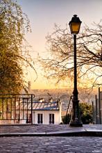 Street Lamp And Paris Skyline ...
