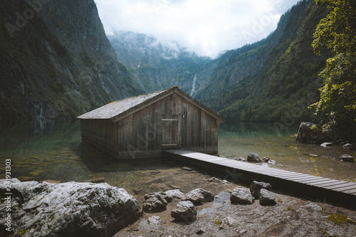 Staande foto Europese Plekken Old boat house at Lake Obersee in summer, Bavaria, Germany