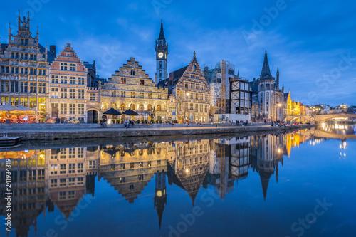Tuinposter Centraal Europa Twilight view of Ghent, Flanders, Belgium