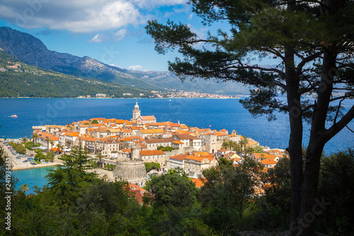 Tuinposter Centraal Europa Town of Korcula, Dalmatia, Croatia