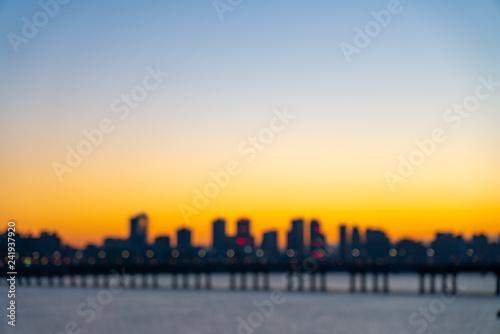 Foto op Plexiglas Chicago Blurred image Sunrise at han river,Seoul south korea.
