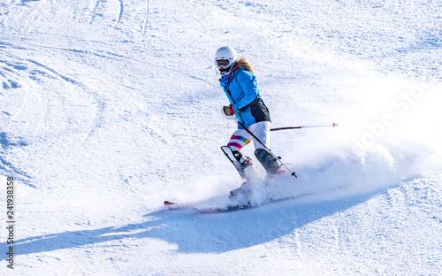 Garden Poster Winter sports People are enjoying skiing / snowboarding