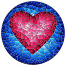 Illustration In Stained Glass Style With Abstract Red  Heart On Blue Background, Round Image