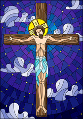 NaklejkaIllustration in stained glass style on the biblical theme, Jesus Christ on the cross against the cloudy sky and the stars