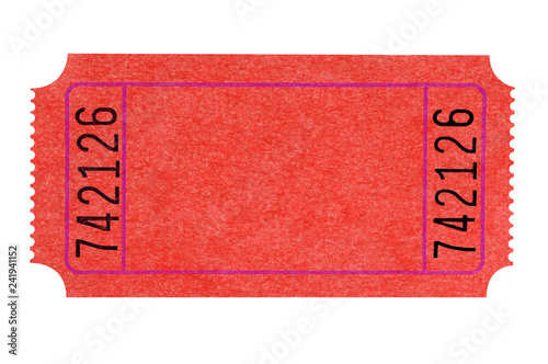 Fotomural  Blank red theater ticket isolated on white
