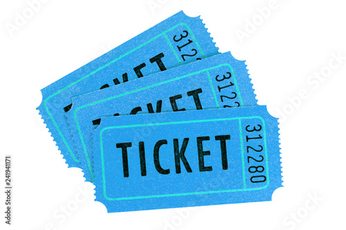 Fotografía  Three blue movie tickets isolated on a white background.