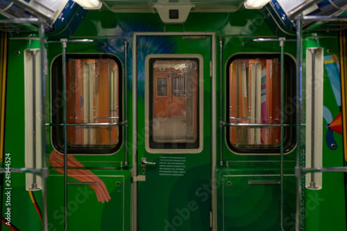 Moscow, RU, 30.09.2018: Empty, originally decorated subway car in Moscow