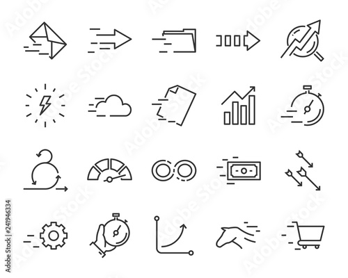 set of speed icon, such as, fast, run, send, boost, growth Canvas Print