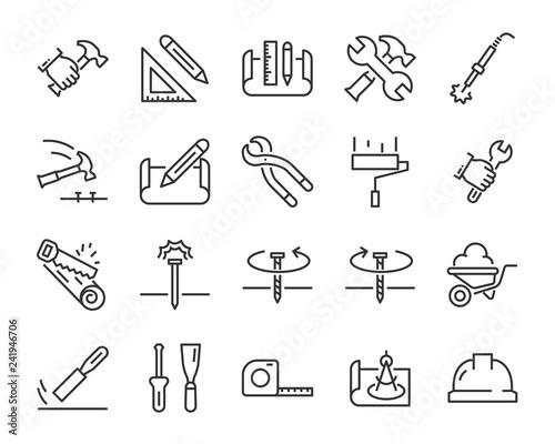 Obraz na plátne set of work icons, such as engineer, carpenter, construction, builder