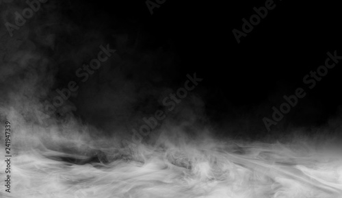 Smoke on the floor . Isolated black background. - 241947339