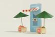 Leinwanddruck Bild - Shopping Online Mobile Phone - 3d render illustrator