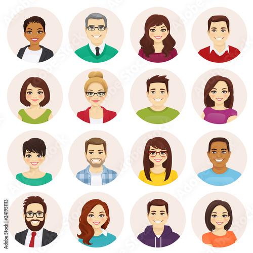 Obraz Smiling people avatar set isolated vector illustration - fototapety do salonu