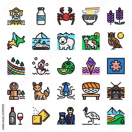 Photo hokkaido pixel perfect color line icons
