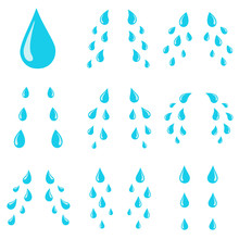 Tears Drops. Sorrow Weeping Cry Streams, Tear Blob Or Sweat Drop. Stream Of Crying Wet Eyes Tears Isolated Vector Cartoon Illustration