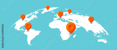 World travel map. Pins on global earth maps, worldwide business communication isolated concept illustration