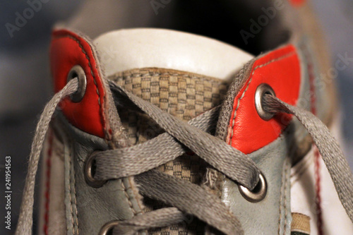 The laces on sneakers so close Poster Mural XXL