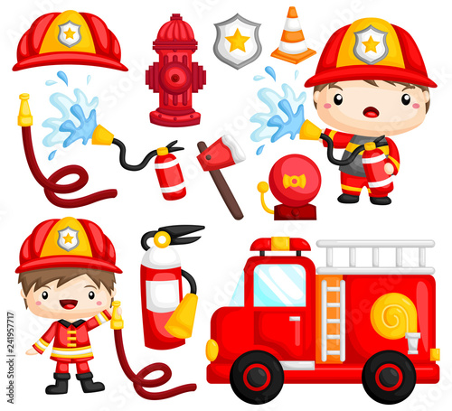 an image set of many fireman and objects related to fireman Tableau sur Toile