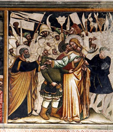 Valokuva  bacio di Giuda e arresto di Gesù; affresco nella Basilica di Santa Caterina d'Al