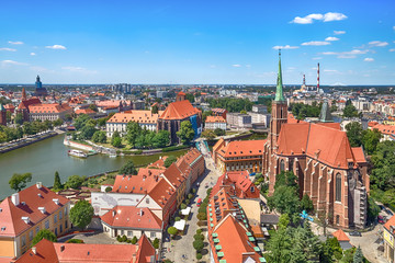 Aerial cityscape of Wroclaw with Cathedral of St. John the Baptist and Oder river, Poland