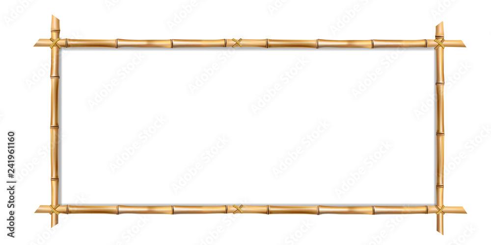 Prostokątna brązowa bambusowa ramka z miejscem na tekst <span>plik: #241961160 | autor: Ekaterina</span>