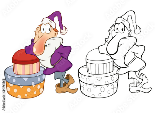 Vector Illustration of Santa Claus . Coloring Book Cartoon Character