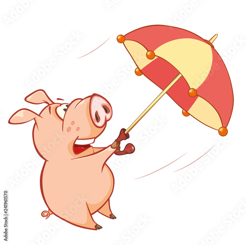 Illustration of a Cute Pig. Cartoon Character