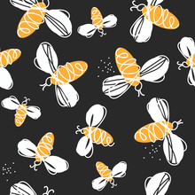 Bees, Hand Drawn Seamless Patt...