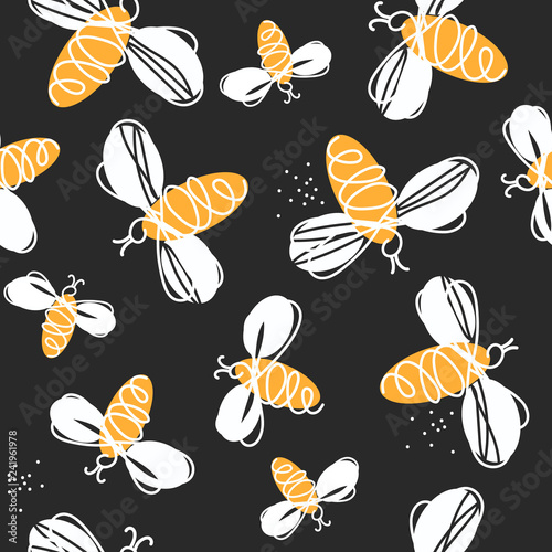 Cotton fabric Bees, hand drawn seamless pattern. Colorful backdrop with insects. Decorative colored wallpaper, good for printing. Hand drawn overlapping background, beekeeping. Design illustration vector