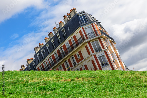 Fotografie, Obraz  Sinking house on Montmartre hill taken with funny angle, Paris, France