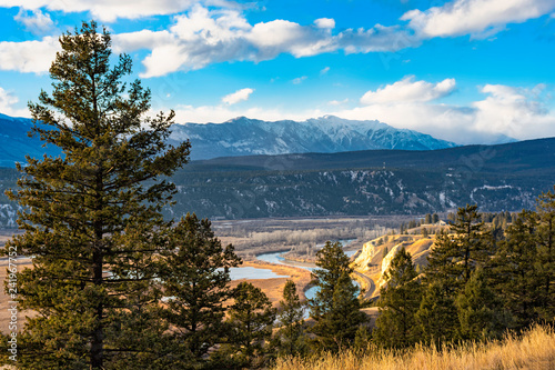 Columbia River valley in the East Kootenays near Radium Hot Springs British Columbia Canada in the early winter with the Purcell Mountains in the background Wallpaper Mural