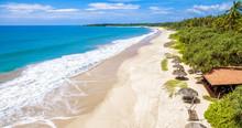 Panoramic View Of The Tropical Beach With Umbrellas, Sri Lanka