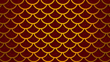 Golden Fish Scales Bright Red Cells Pattern Marine Background 3D Illustration