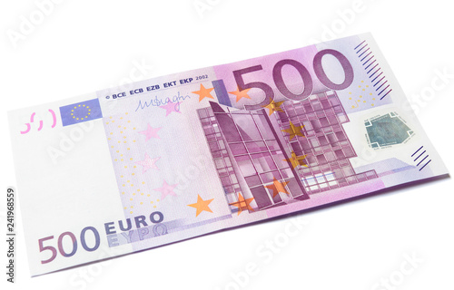 500 euro money banknote isolated on a white background Canvas Print