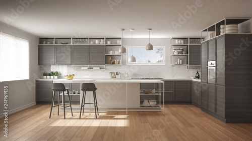 Foto Modern white and gray kitchen with wooden details and parquet floor, modern pend