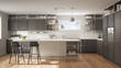 Leinwandbild Motiv Modern white and gray kitchen with wooden details and parquet floor, modern pendant lamps, minimalistic interior design concept idea, island with stools and accessories