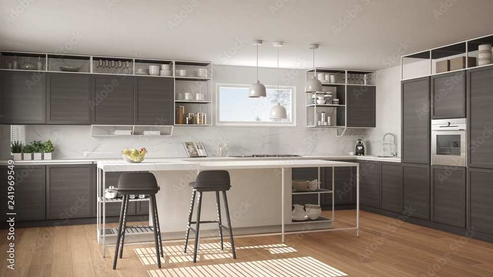 Fototapety, obrazy: Modern white and gray kitchen with wooden details and parquet floor, modern pendant lamps, minimalistic interior design concept idea, island with stools and accessories
